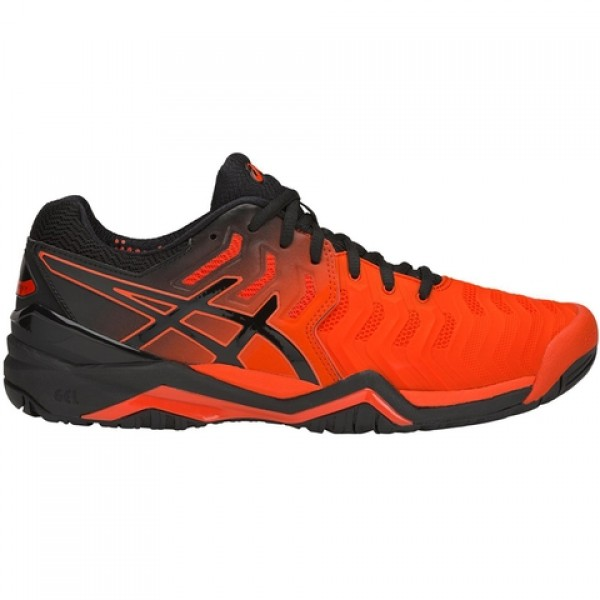 81e3bc3a5f Tênis Asics Gel Resolution 7 - Laranja e Preto - Oficina do Tenista