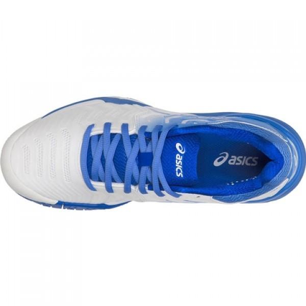 94b99cd58a5f9 Tênis Asics Gel Resolution 7 - Branco e Azul - Oficina do Tenista