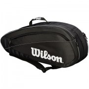 Raqueteira Wilson Federer Team X6 - Preta e Branca