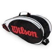 Raqueteira Wilson Tour X6 - Preta e Vermelha