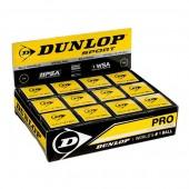 Bola de Squash Dunlop Pro 2 Pontos Amarelos - Caixa com 12 Bolas