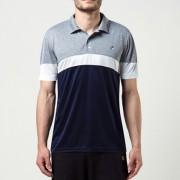 Camisa Polo Fila Block Melange - Azul e Cinza