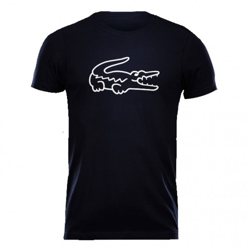 T - shirt Lacoste Croc Logo Crewnewck - Black