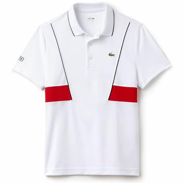 Camisa Polo Lacoste Novak Djokovic - Branco e Vermelho - Oficina do ... bb339e770da94