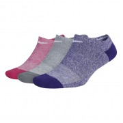 Meia Nike Everyday Cushion Cano Invisível Rosa, Cinza e Roxa - 3 pares 34 a 38