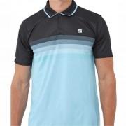 Camisa Polo Fila Aztec Box Colors - Preto e Azul Neon