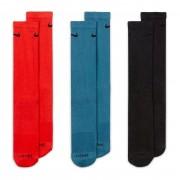 Meia Nike Everyday Plus Cano Alto Chumbo, Azul e Vermelha - 3 pares 39 a 43